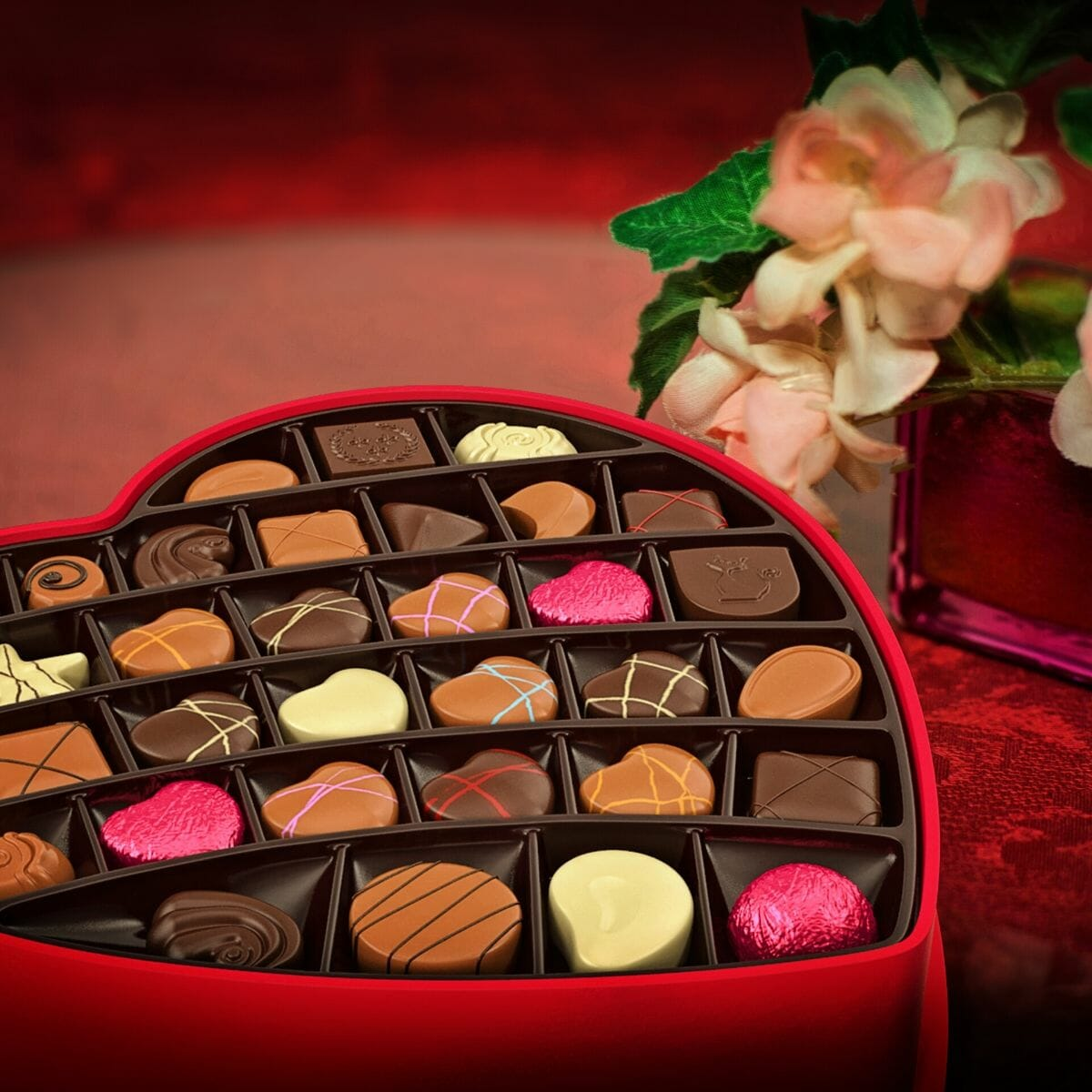 valentine's day chocolates in a heart shaped box